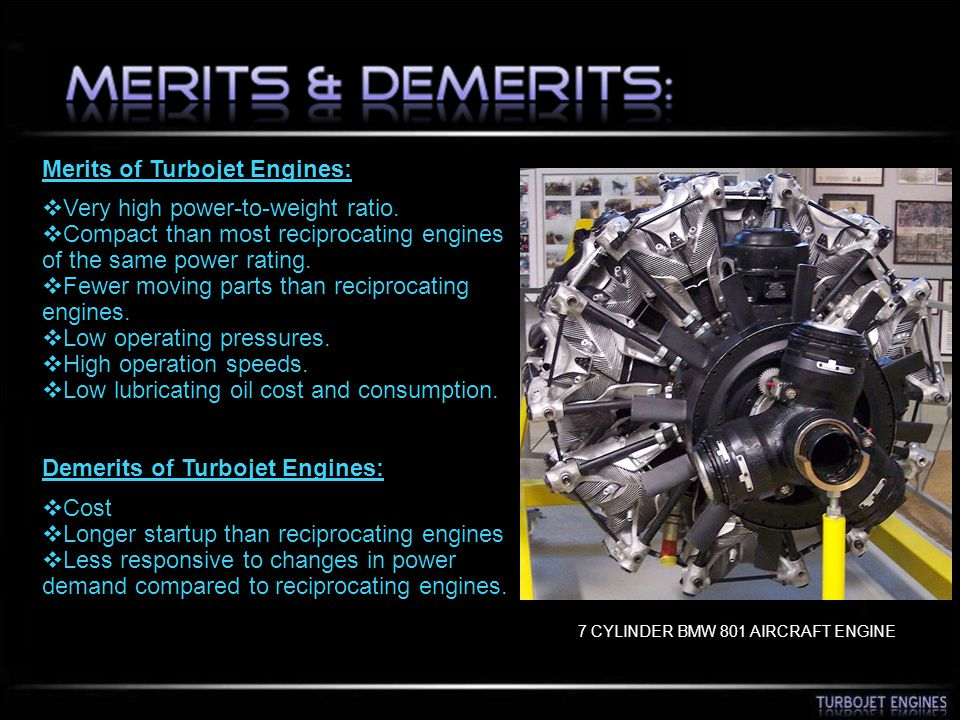 Merits of Turbojet Engines: Very high power-to-weight ratio.