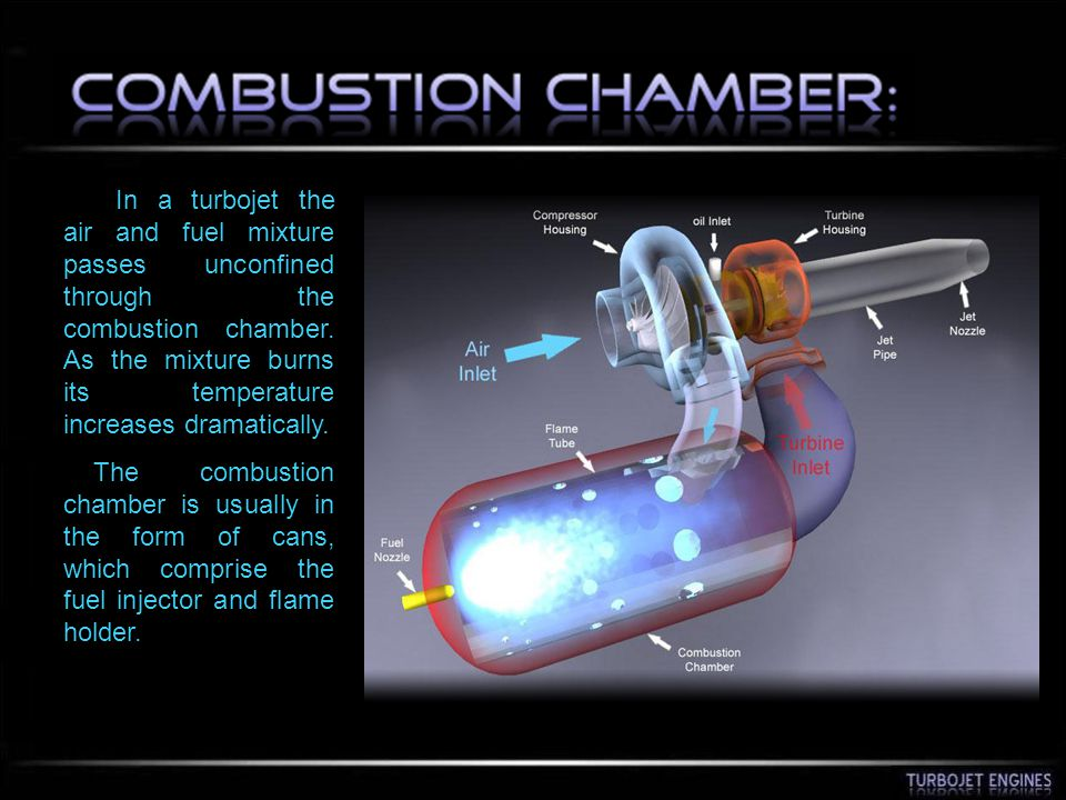 In a turbojet the air and fuel mixture passes unconfined through the combustion chamber. As the mixture burns its temperature increases dramatically.