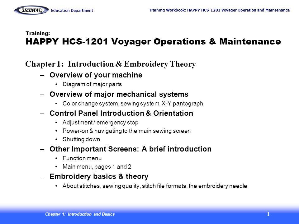 Training: HAPPY HCS-1201 Voyager Operations & Maintenance