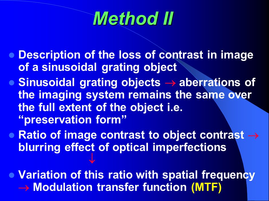 Method II Description of the loss of contrast in image of a sinusoidal grating object.