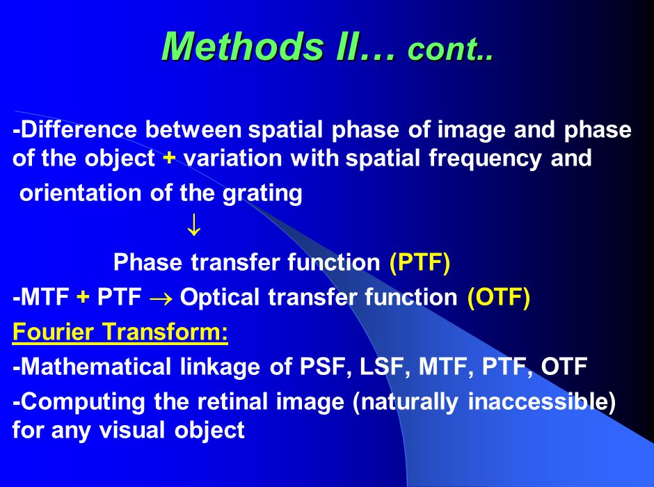 Methods II… cont.. -Difference between spatial phase of image and phase of the object + variation with spatial frequency and.