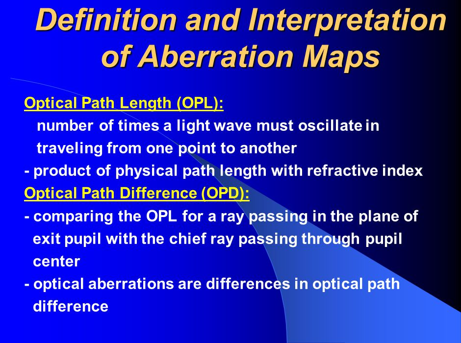 Definition and Interpretation of Aberration Maps