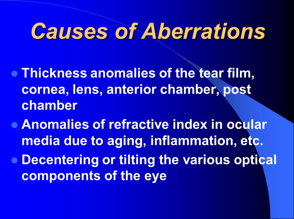 Causes of Aberrations Thickness anomalies of the tear film, cornea, lens, anterior chamber, post chamber.