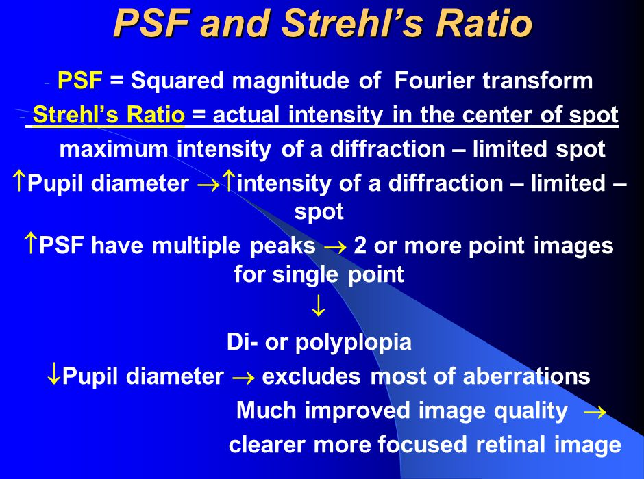 PSF and Strehl's Ratio PSF = Squared magnitude of Fourier transform