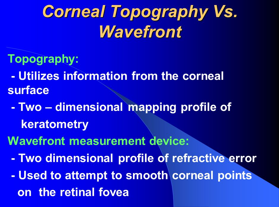 Corneal Topography Vs. Wavefront