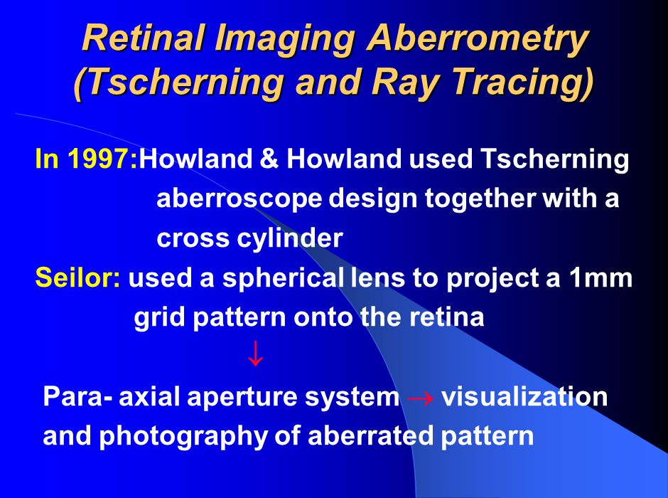 Retinal Imaging Aberrometry (Tscherning and Ray Tracing)