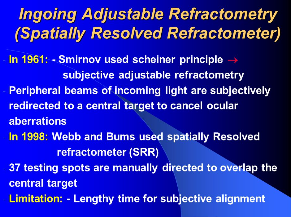 Ingoing Adjustable Refractometry (Spatially Resolved Refractometer)