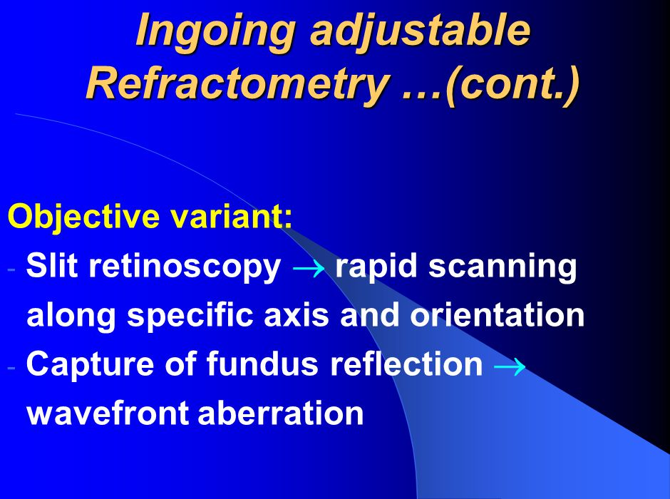 Ingoing adjustable Refractometry …(cont.)