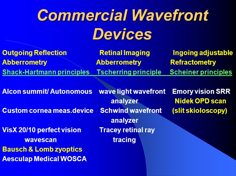 Commercial Wavefront Devices