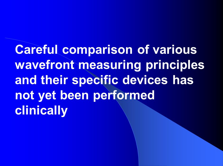 Careful comparison of various wavefront measuring principles and their specific devices has not yet been performed clinically