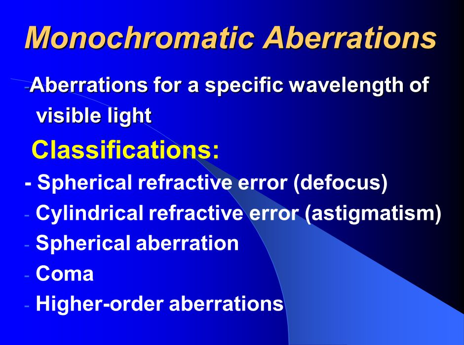 Monochromatic Aberrations