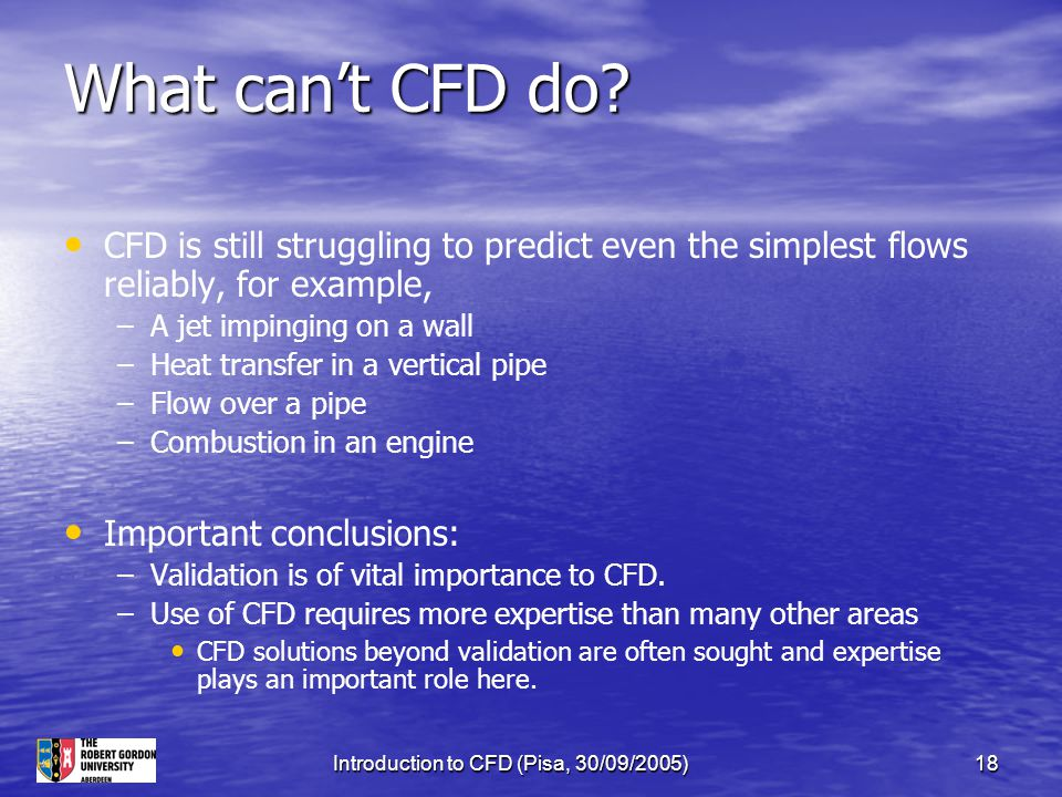Introduction to CFD (Pisa, 30/09/2005)