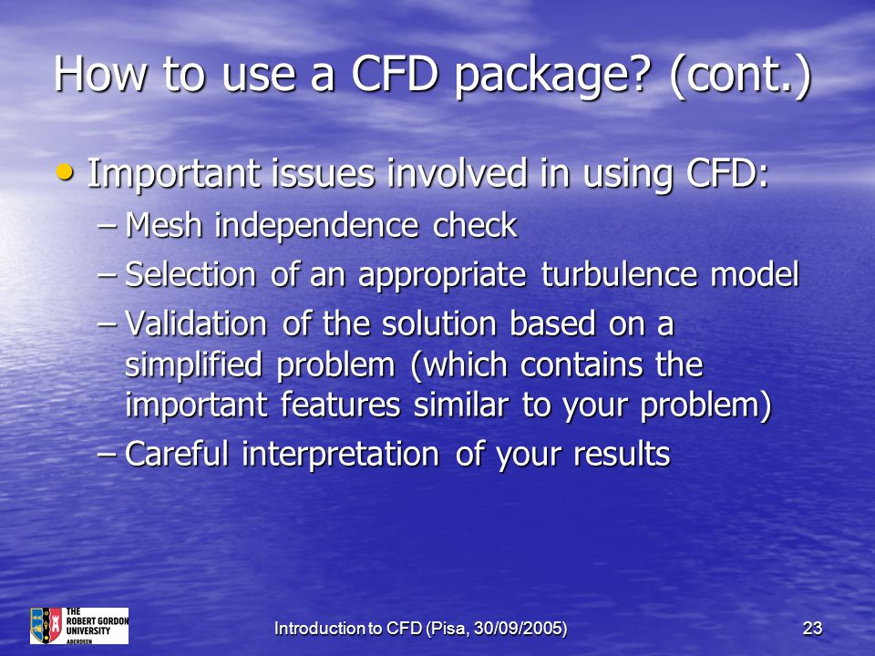 How to use a CFD package (cont.)
