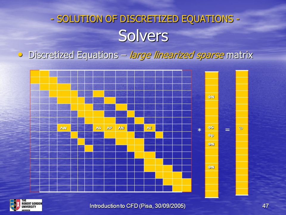 - SOLUTION OF DISCRETIZED EQUATIONS - Solvers