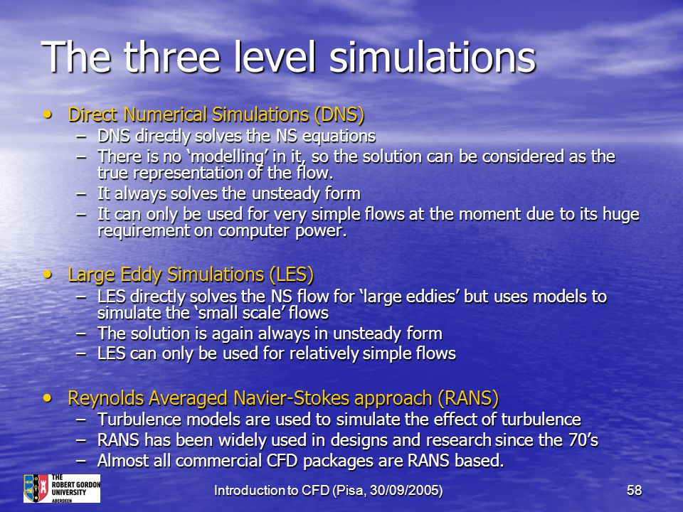 The three level simulations