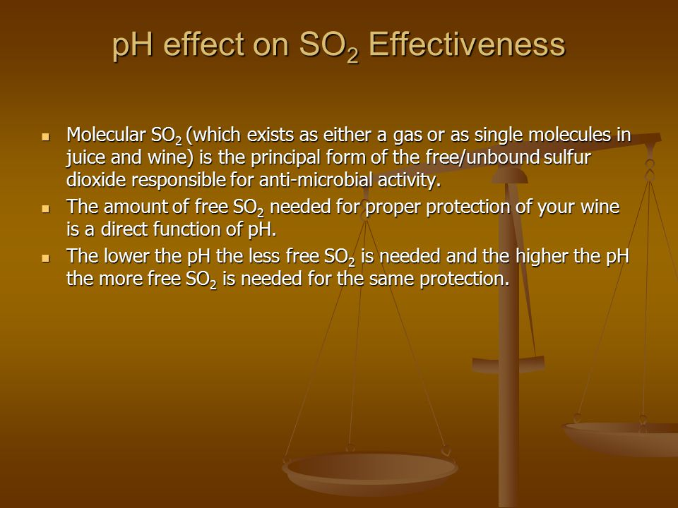pH effect on SO2 Effectiveness