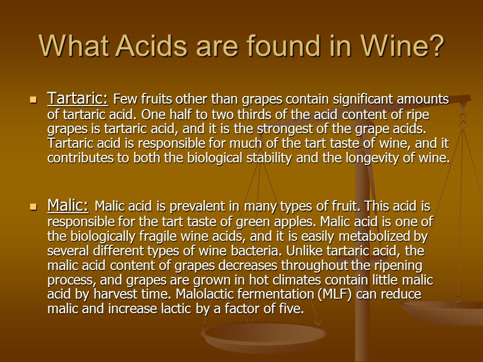 What Acids are found in Wine