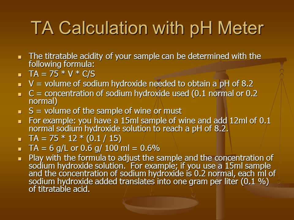TA Calculation with pH Meter