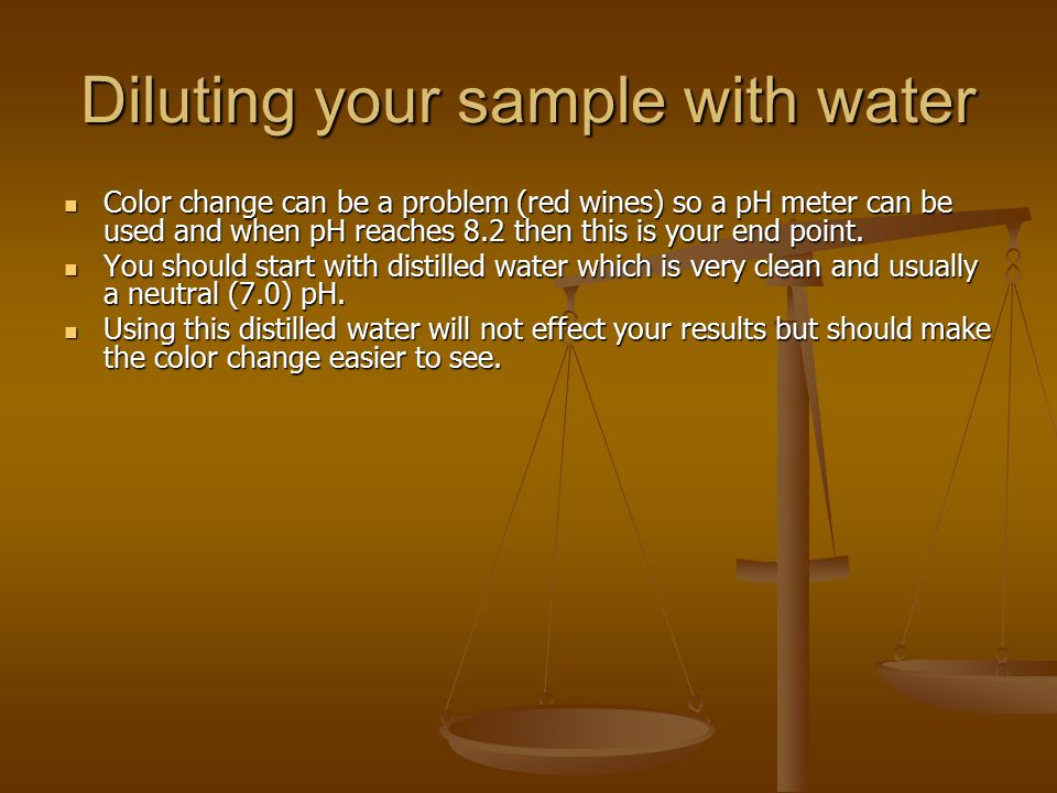 Diluting your sample with water