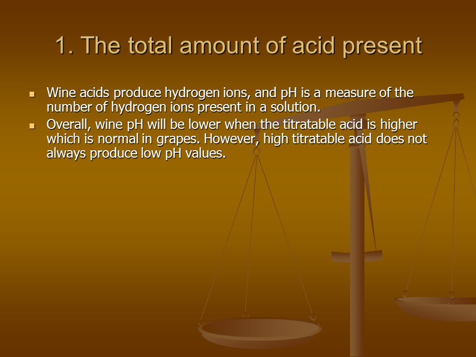 1. The total amount of acid present