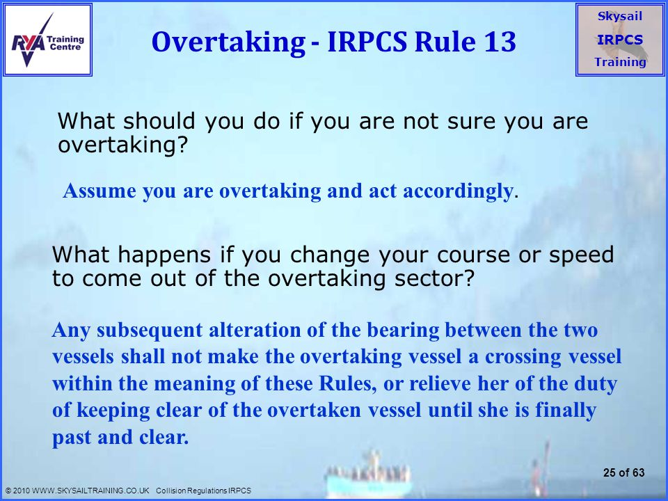 Overtaking - IRPCS Rule 13