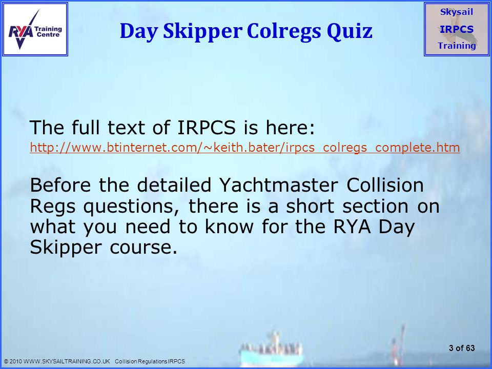 Day Skipper Colregs Quiz