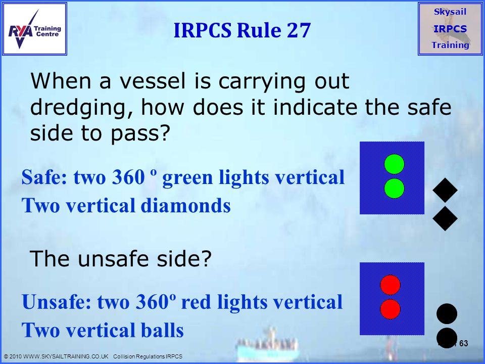 IRPCS Rule 27 When a vessel is carrying out dredging, how does it indicate the safe side to pass The unsafe side