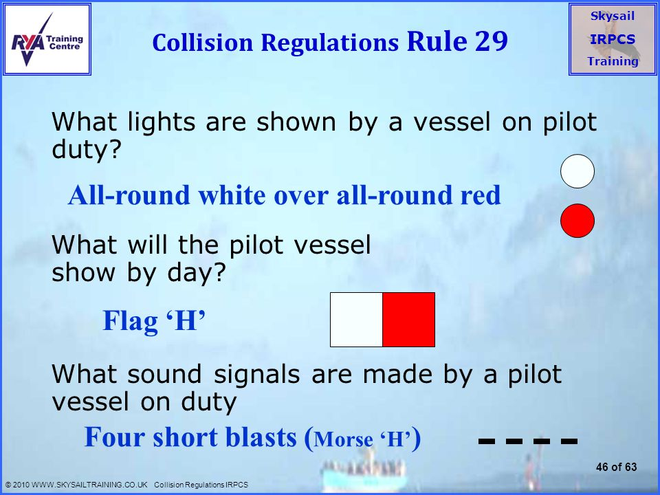 Collision Regulations Rule 29