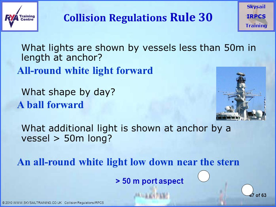 Collision Regulations Rule 30