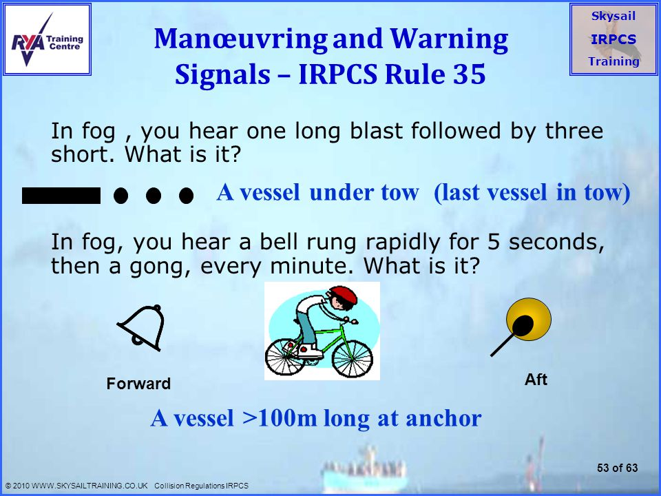 Manœuvring and Warning Signals – IRPCS Rule 35
