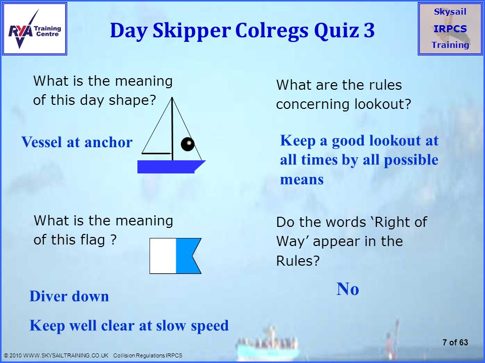 Day Skipper Colregs Quiz 3