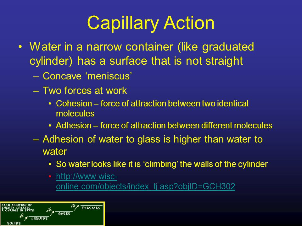 Capillary Action Water in a narrow container (like graduated cylinder) has a surface that is not straight.