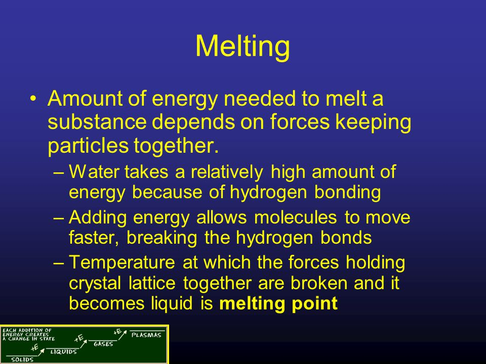 Melting Amount of energy needed to melt a substance depends on forces keeping particles together.