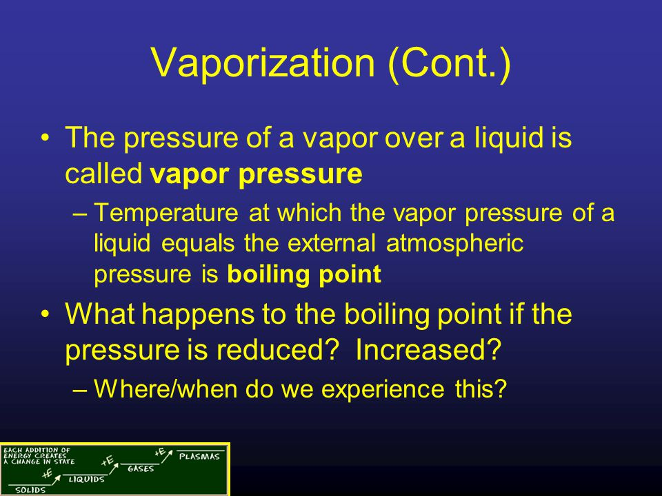 Vaporization (Cont.) The pressure of a vapor over a liquid is called vapor pressure.