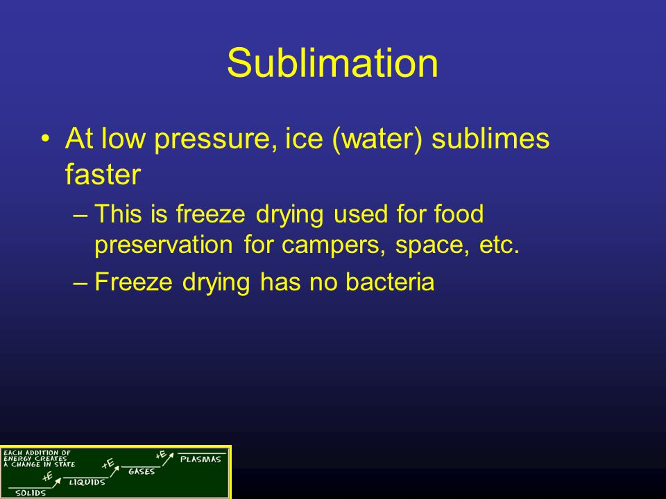 Sublimation At low pressure, ice (water) sublimes faster