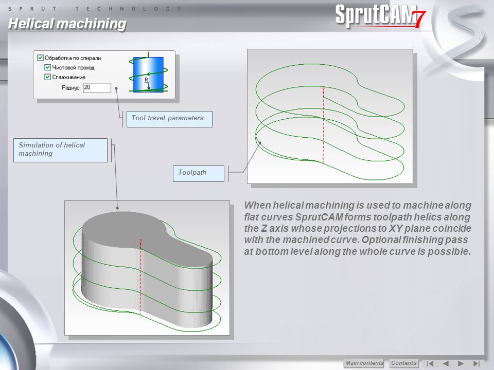 Helical machining Tool travel parameters. Simulation of helical machining. Toolpath.