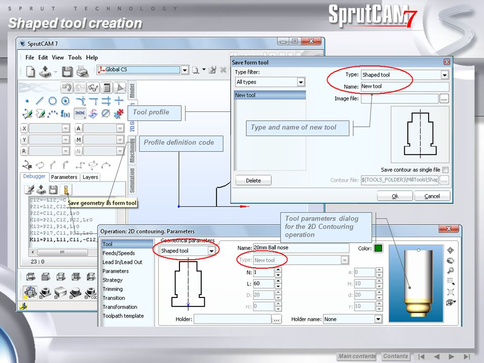 Shaped tool creation Tool profile Type and name of new tool
