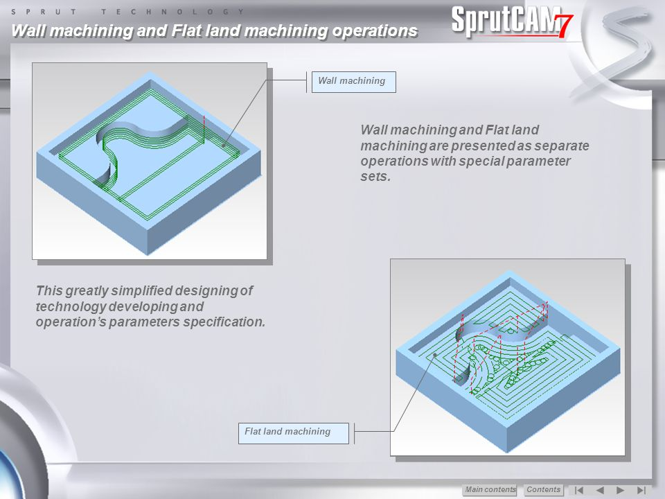 Wall machining and Flat land machining operations