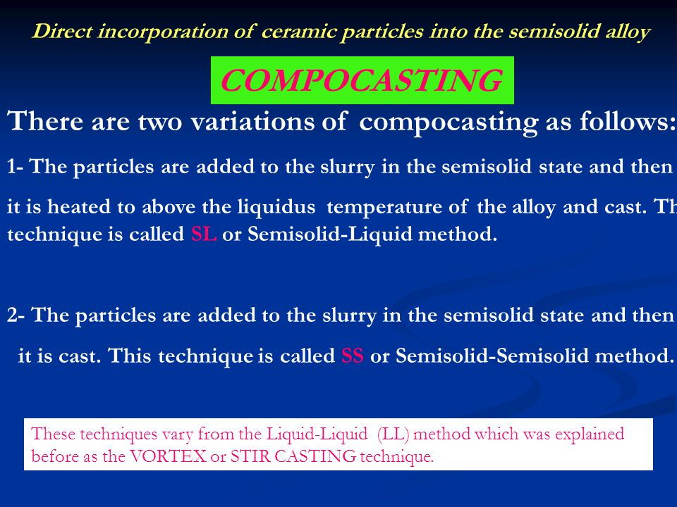 COMPOCASTING There are two variations of compocasting as follows: