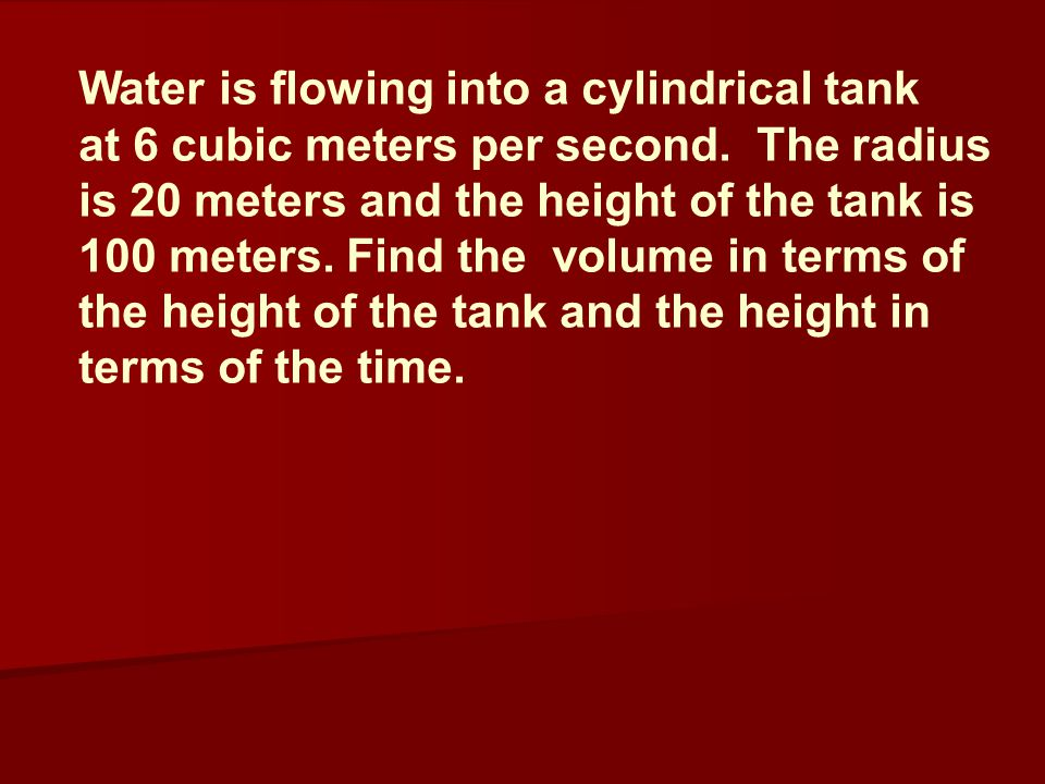 Water is flowing into a cylindrical tank