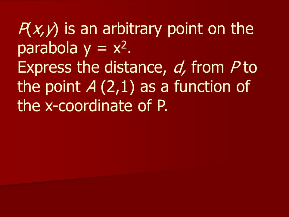 P(x,y) is an arbitrary point on the parabola y = x2