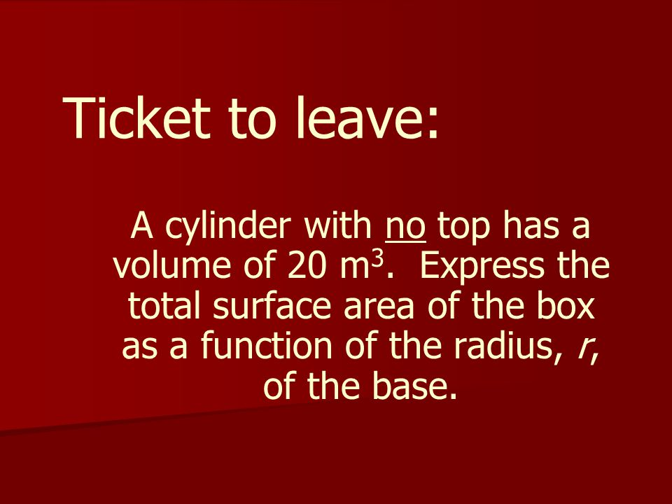 Ticket to leave: