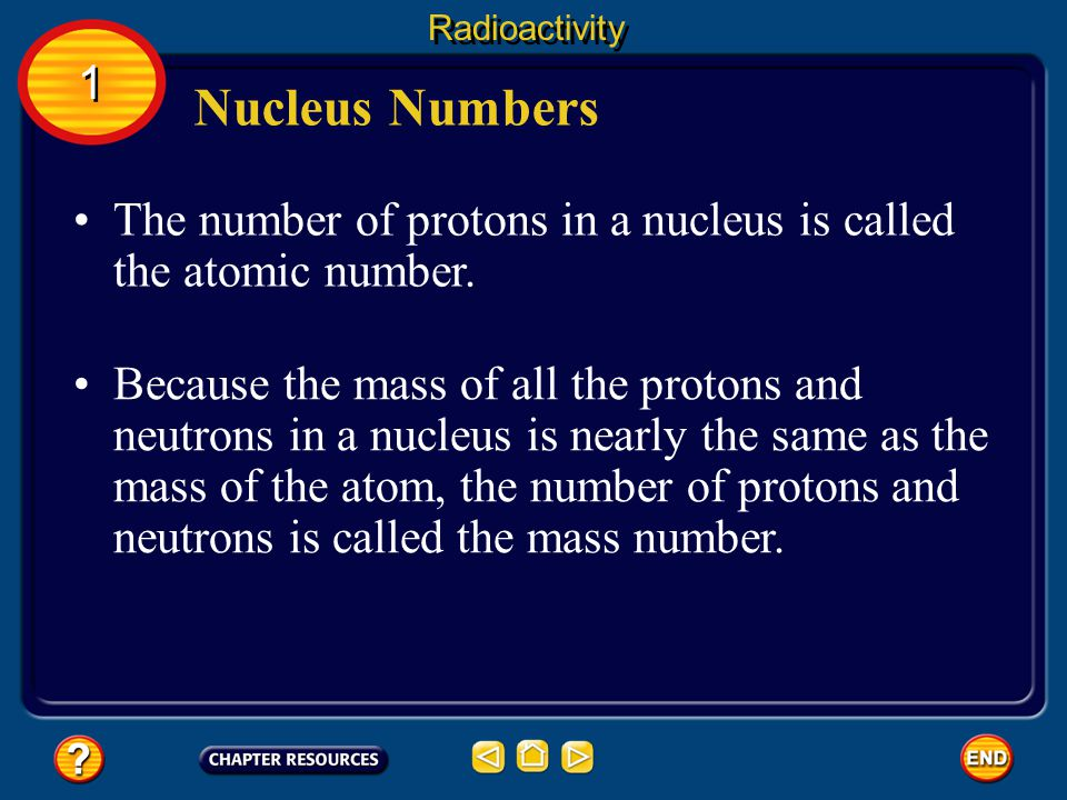 Radioactivity 1. Nucleus Numbers. The number of protons in a nucleus is called the atomic number.