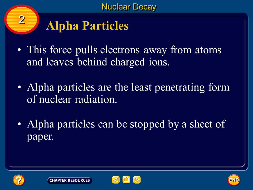 Nuclear Decay 2. Alpha Particles. This force pulls electrons away from atoms and leaves behind charged ions.