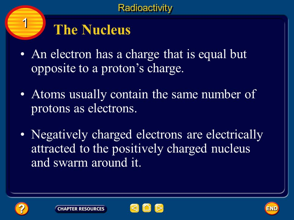 Radioactivity 1. The Nucleus. An electron has a charge that is equal but opposite to a proton's charge.