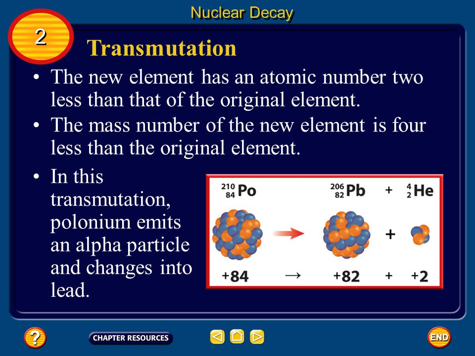 Nuclear Decay 2. Transmutation. The new element has an atomic number two less than that of the original element.