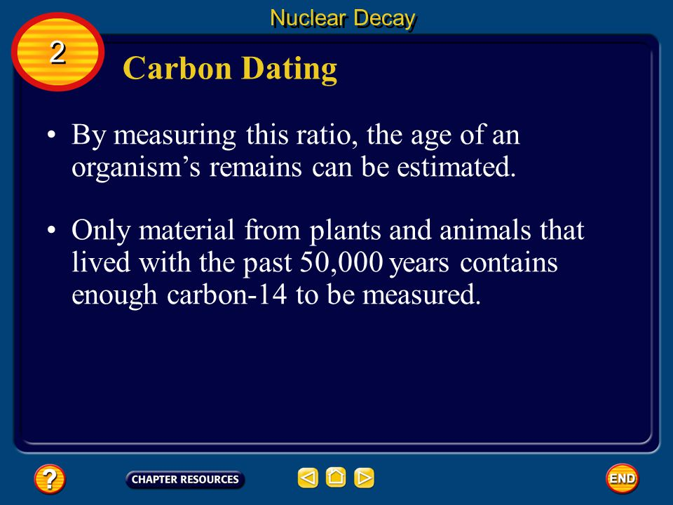 Nuclear Decay 2. Carbon Dating. By measuring this ratio, the age of an organism's remains can be estimated.