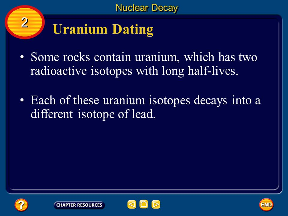 Nuclear Decay 2. Uranium Dating. Some rocks contain uranium, which has two radioactive isotopes with long half-lives.