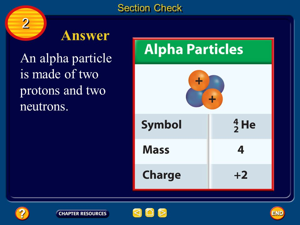 Answer 2 An alpha particle is made of two protons and two neutrons.