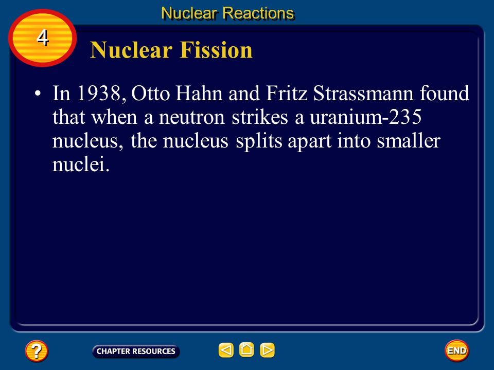 Nuclear Reactions 4. Nuclear Fission.